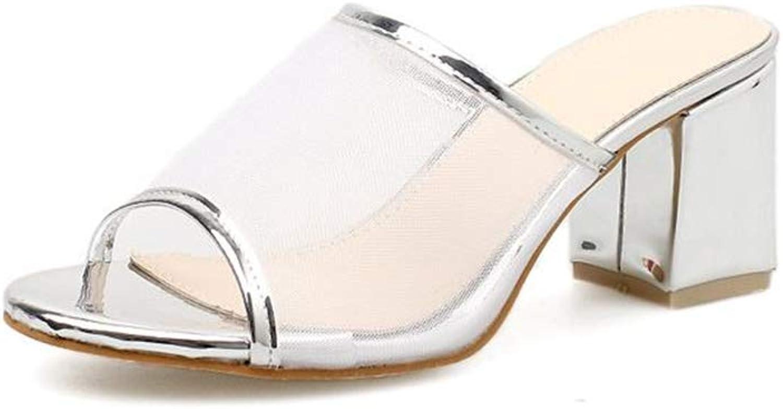 Fancyww Women's Peep Toe Slip On Backless Block Low Heel Mule