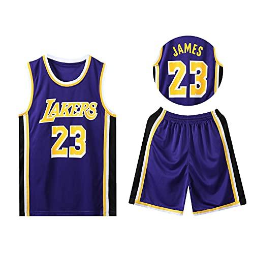 HAZYJT Jersey de Baloncesto - L.A. Lakers - # 23 Lebron James Sudadera y Pantalones Transpirables sin Mangas, Trajes para Hombres y Mujeres