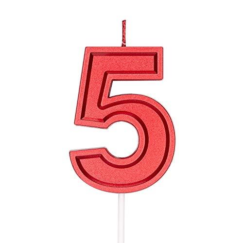 LUTER 7 cm Rojo Velas de Pastel de Cumpleaños Velas de Número Vela de Cumpleaños Adorno de Pastel Decoración para Fiestas Niños Adultos - Número 5