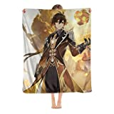 Game Genshi.n Zhongli Blanket Ultra-Soft Blanket All Season Flannel Blanket for Bed, Couch, Car, Living Room.Animation/Anime/Comic Blanket.Dear Traveler,I Wish You Can Draw Gold at One Time