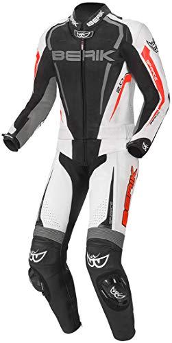 Berik Race-X Abito in pelle moto a due pezzi Nero/Grigio/Rosso 50