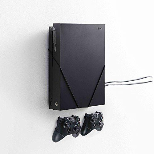 FLOATING GRIP® Wall Mounts for 1x XBOX One X + 2x XBOX Controllers. Color: BLACK. Storage XBOX on the wall right next to your TV. Produced in Europe since 2014.