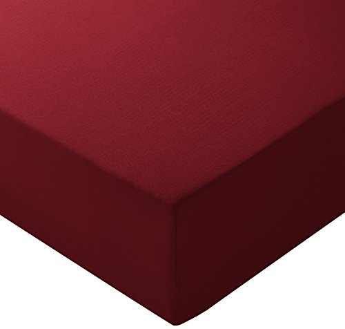Amazon Basics - Lenzuolo con angoli in microfibra, 160 x 200 x 30 cm, Bordeaux