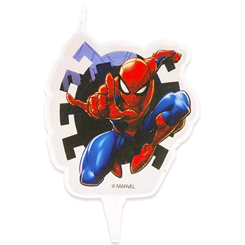 Dekora-346208 Vela de Cumpleaños 2D Spiderman de 7 cm, Multicolor (346208)