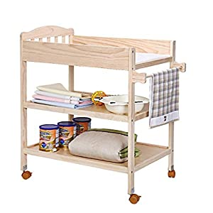 Tables YNN Bedside Wood Changing with Pad and Wheels, Nursery Infant Dresser Multi Storage for Infants or Babies