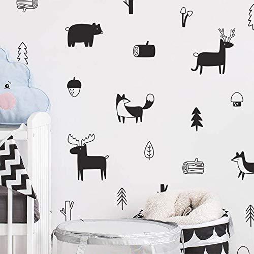 Eenvoudige Scandinavische stijl bos dierlijke muur Sticker bos boom kinderkamer kleuterschool kunst muursticker moderne muursticker decoratie 23cmX 12cm Grijs