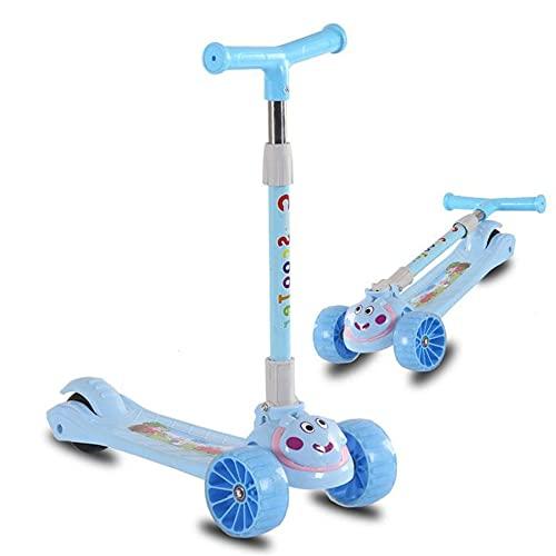 LQ&XL Scooter para niños de 3 Ruedas, Adecuado para niñas y niños de 1 a 10 años, Scooter para niños Dos en uno de Altura Ajustable, Ruedas de Destello de PU, Soporte de Carga de 60 KG -B/B