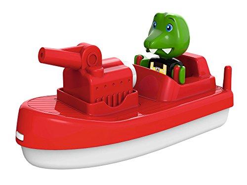 AquaPlay 8700000262 - FireBoat - Zubehör für AquaPlay Wasserbahnen oder für die Badewanne, Feuerwehr Boot mit Sven dem Krokodil, Wasserspritzfunktion, für Kinder ab 3 Jahren