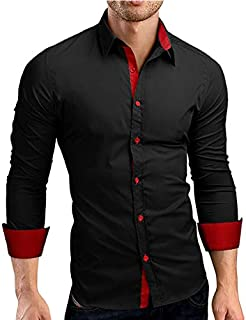 IndoPrimo Men's Cotton Casual Shirt for Men Full Sleeves (Black, M)