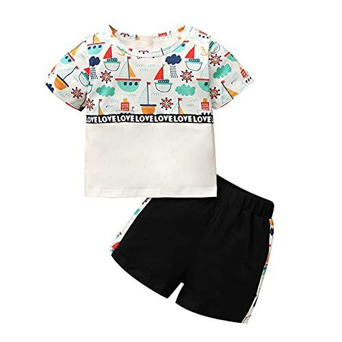Yinuoday Kinder-Kleidung für Mädchen, Kinder, Boot, bedruckt, Shirt mit Shorts, bedruckt, kurzärmelig, für Neugeborene