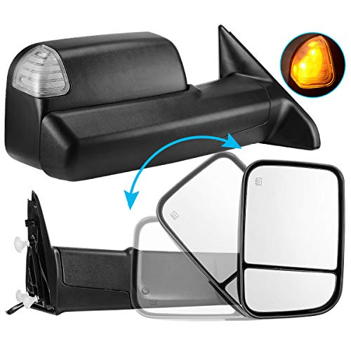 AUTOSAVER88 Towing Mirror Compatible with 2009-2017 Dodge Ram 1500 2500 3500 Pickup, Foldaway Power Heated LED Puddle Signals Tow Mirrors Pair Set with Ambient Temperatuer Sensor
