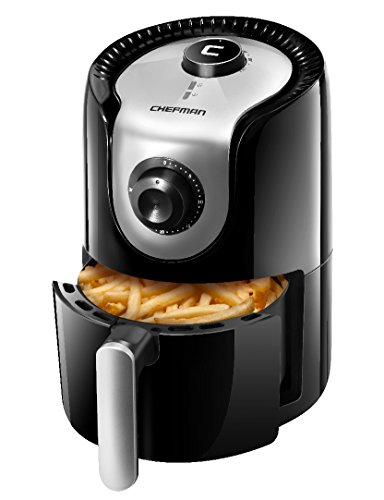 Chefman 1.6 Liter/1.7 Quart Personal Compact Mini Air Fryer, Healthy, Oil, Adjustable Temperature Control 30 Minute Timer, Dishwasher Safe Parts, BPA Free, Black