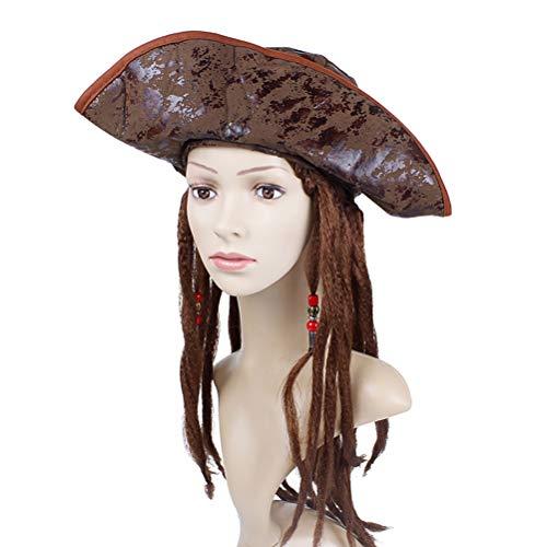 Abaodam Halloween Party Cosplay Accessary Pirata con Dreadlocks Decoracin de pelo falso Props Pirata Masquerade Performance Prom Costume Hat Set de peluca para adultos