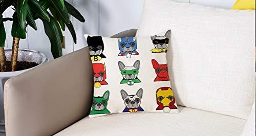 Pillow Case Cojín Cuadrado Print,Superhéroe, Bulldog Superhéroes Cachorros de dibujos animados divertidos disfrazados Perros coAdecuado para Oficina, Familia, automóvil, cafetería, Tienda, 45x45cm