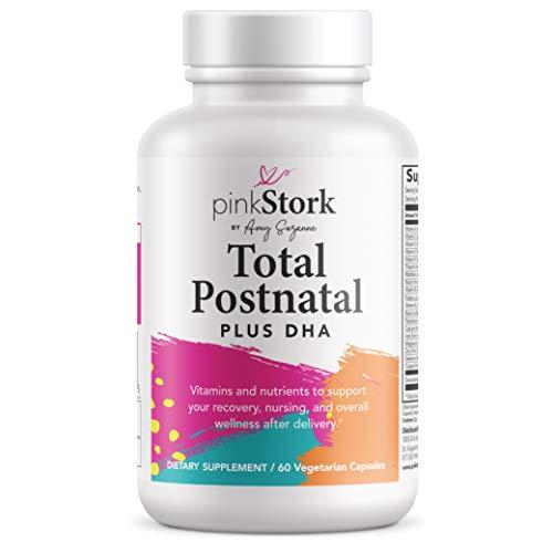 Pink Stork Total Postnatal + DHA, Support for Postpartum, Nutrients for Mom + Baby, Prenatal Vitamins, Women-Owned, 60 Vegetarian Capsules