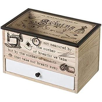 Costurero Caja de Madera Blanco romántico para salón Vitta ...