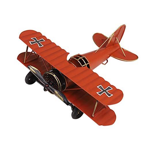 GARNECK Vintage Eisen Metall Flugzeug Flugzeuge Modelle Handwerk für Foto Requisiten Kinder Spielzeug Wohnkultur Ornament Desktop Dekoration (Rot)