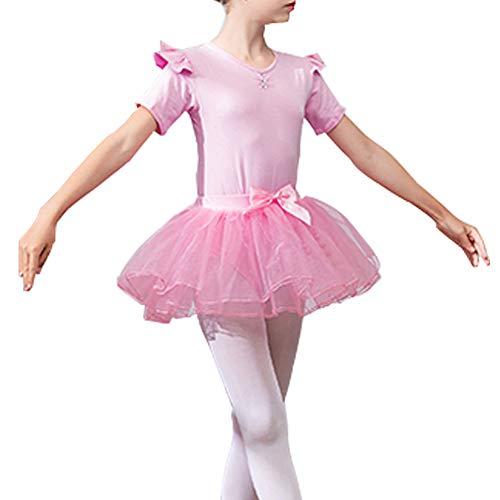 Lefuku Kinderen Meisjes Korte Mouw Katoen Tule Ballet Jurk School Leotard Tutu Rok Dans slijtage Outfit Kostuums