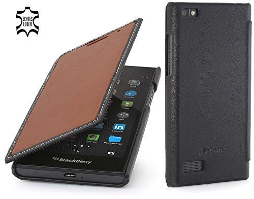 StilGut Book Type Hülle, dünne Hülle Leder-Tasche für BlackBerry Leap. Seitlich klappbares Flip-Hülle aus Echtleder für BlackBerry Leap, Braun Nappa/schwarz
