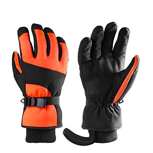 Foern Guantes Esquí Impermeable para Hombre y Mujer Guantes Invierno Nieve Táctiles Calientes Guante Nieve Térmica para Snowboard,Orange,S