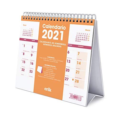 ERIK - Calendario de Escritorio 2021 Genérico, 17x20 cm
