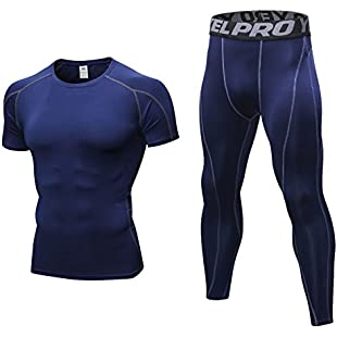 Niksa Mens Fitness Gym Clothing Set 2 Pcs,Exercise Sports Clothes Men Compression Shirt Tights Pants for Workout Running Training(XXL,Navy Blue):Gamesbonusstar