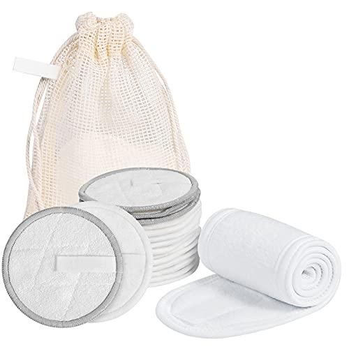 18 Piezas / Paquete de Maquillaje Reutilizable Cara, Ojos, Cuerpo, Pad Removedor de maquillaje de algodón suave, Removedor de maquillaje Herramientas de limpieza, Diadema de algodón y bolsa de almacen