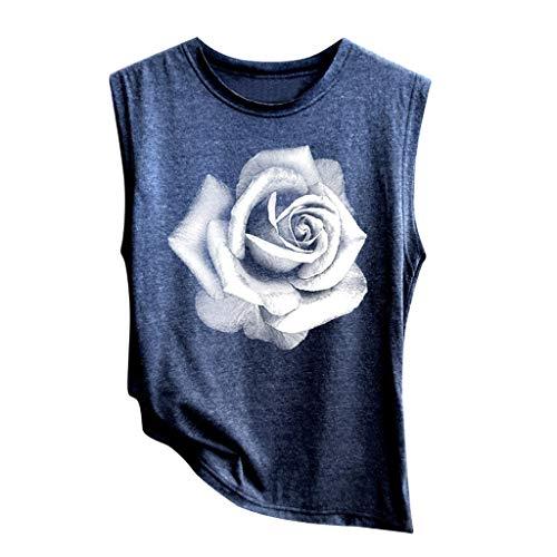 Camisetas para Mujer,Riou Sexy Halter sin Mangas Boho Camisola Top de Mujer con Estampado Casual Camisa de Verano Moda 2019 Blusa Tops para Primavera Verano
