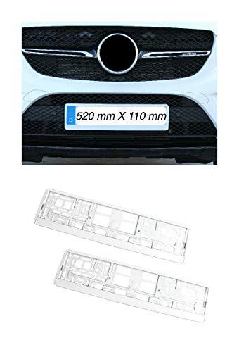 2x Kennzeichenhalter Nummernschildhalter Made in EU 52 x 11 cm 520mm x 110mm Hochglanz Weiß