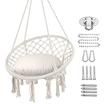 Y- STOP Hammock Chair Macrame Swing Max 330 Lbs Hanging Cotton Rope Hammock Swing Chair for Indoor and Outdoor Use  Beige