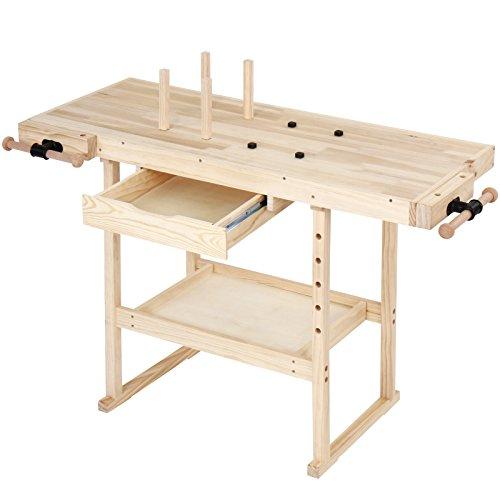 Hobelbank - 127x57,5x82,5 cm, aus Holz mit Spannzange, Schraubstock und Schublade, bis 200 kg belastbar - Werkbank, Werktisch, Arbeitsbank, Tischlerbank, Holzwerkbank