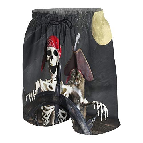 SUHOM De Los Hombres Casual Pantalones Cortos,Capitán Gato Barco Pirata Calavera Esqueleto Controlando El Yelmo,Secado Rápido Traje de Baño Playa Ropa de Deporte con Forro de Malla