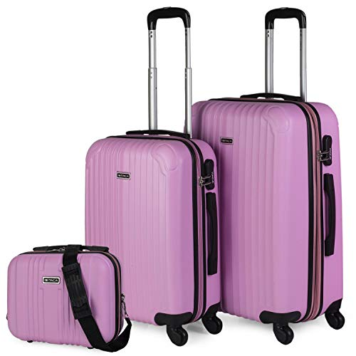ITACA - Maletas de Viaje 4 Ruedas Y Neceser 3 Pzs. Set Trolley ABS 4 Ruedas (Cabina + Mediana + Neceser) Rígidas y Resistentes. Conjunto Equipaje Avión T71515B, Color Rosa