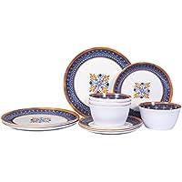 Marjoy Unbreakable Set for 4 Melamine Plates and Bowls Set