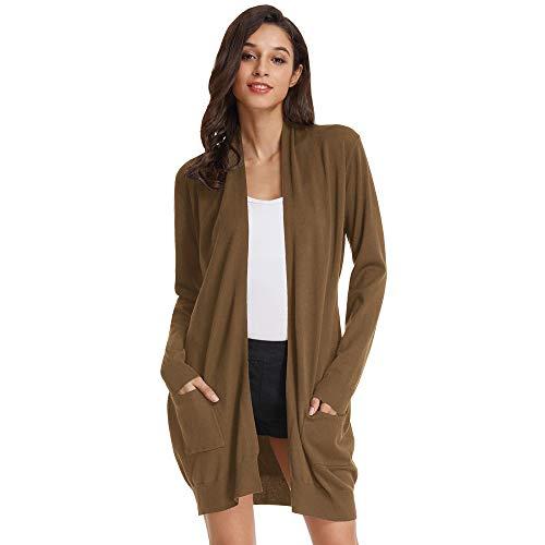 GRACE KARIN Damen Lange Strickjacke Langarm Offene Casual Strickmantel Herbst Cardigan mit Taschen XL Dunkelbraun CLAF1003-26