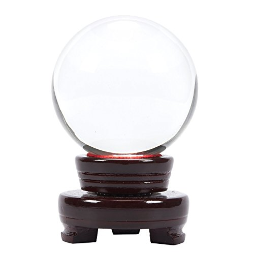 Juvale Claro Bola De Cristal–Esfera de Cristal con Soporte, adivinación Sphere, meditación y curación, Feng Shui Cristales, Claro, 4,5x 3.1x 3.1Inches