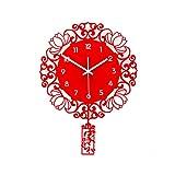 Orologio da Parete Orologio da parete Imitazione Carta- cut Clock Home Soggiorno Camera da Letto Parete Appeso Ornamenti Cinese Cinese Orologio da parete silenzioso Puro rosso 20, 86 pollici Orologio