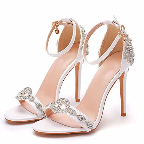 YIZHIYA Zapatos de Novia de Mujer,11CM Sandalias de tacón Alto con Diamantes...