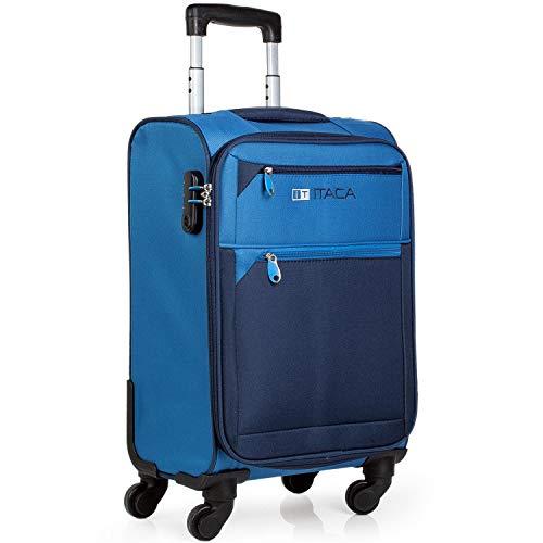 ITACA - Maleta de Viaje Cabina 4 Ruedas Trolley 54 cm poliéster eva. Equipaje de Mano. Blanda, y Ligera. Mango Asas candado. Low Cost ryanair. 701050, Color Azul-Azul Marino