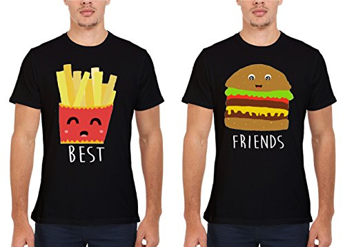Best Friends Chips Burger Fries Couple Match Valentine Fun Novelty Men Women Unisex Top T Shirt-5XL