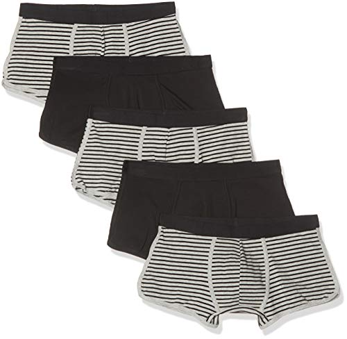 Amazon-Marke: find. Herren Boxershorts im 3er/5er/7er-Pack, Mehrfarbig (Black & Grey Stripes/Balck), L, Label: L