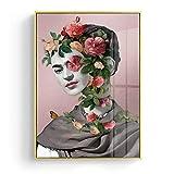 wZUN Pintura al óleo Abstracta Flor Chica Arte de la Pared Lienzo Pintura geométrica Cuadro de la Pared para la decoración de la Sala de Estar 60x80 Sin Marco