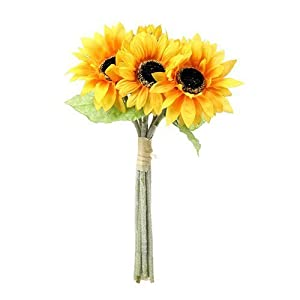 Artificial 41cm Sunflower Bundle – 6 Flower Stems by Permabloom