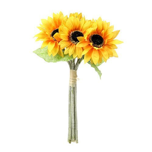Artificial 41cm Sunflower Bundle - 6 Flower Stems by Permabloom