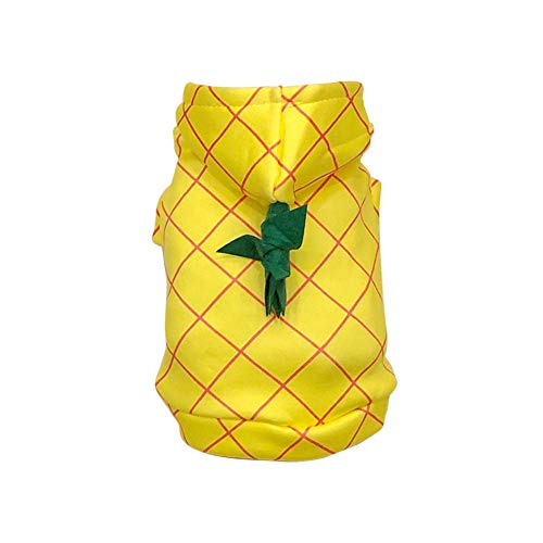 WORDERFUL Dog Halloween Pineapple Costume Pet Cosplay Clothing Puppy Funny Outerwear for Party French Bulldog Festive Hooded Clothes Cats Adorable Yellow Habiliment (S)