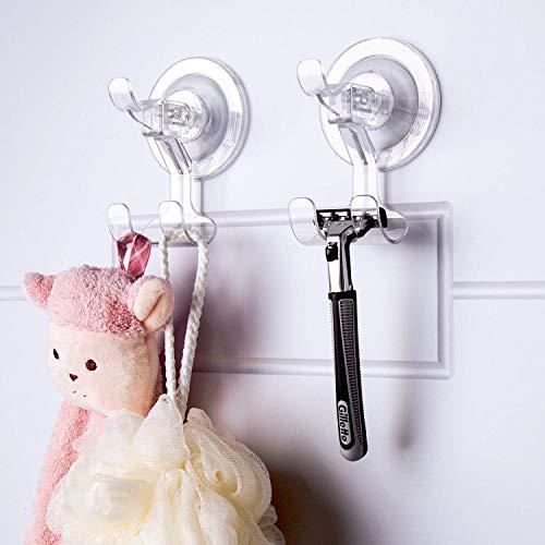 Teletrogy Suction Cup Hooks 2 Pack Razor Holder for Shower Reusable Shower Hooks - Razor Hook - Shower Razor Holder Damage Free Wall Hooks for Razor Shaver, Plug, Towel, Loofah Transparent