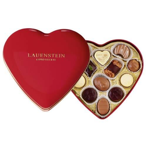 Lauensteiner Herzdose mit 150 g feinsten Trüffel- und Pralinenideal als Geschenk zu Muttertag oder Geburtstag, 1er Pack