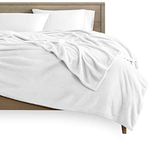 Bare Home Kids Microplush Fleece Blanket - Twin/Twin Extra Long - Ultra-Soft Velvet - Luxurious Fuzzy Fleece Fur - Cozy Lightweight - Easy Care - All Season Premium Bed Blanket (Twin/Twin XL, White)