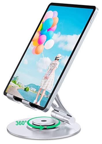 Bovon Supporto Tablet con Base Rotante a 360°, Porta Tablet da Tavolo Pieghevole e Regolabile, Supporto Cellulare Stabile in Alluminio Resistente Compatibile con iPad, Samsung Tabs (4,7-12,9 Pollici)