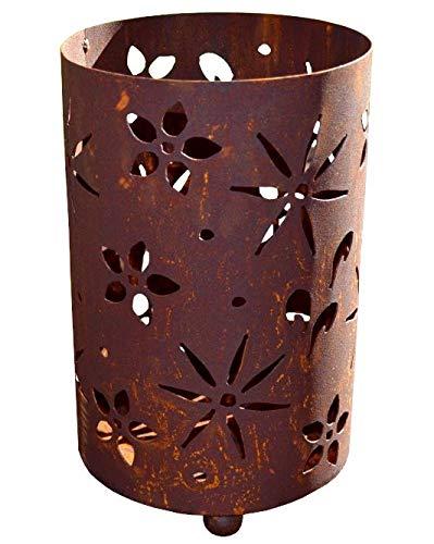 Windlicht Blumen inkl. Kerze Blüte Blüten Rost Edelrost Metall Rostwindlicht Deko Dekoration Deko-Idee Dekowindlicht Rostdeko Gartendeko Geschenk-Idee Geschenk